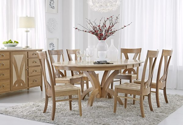 Andromeda Single Pedestal Round Extension Table Set