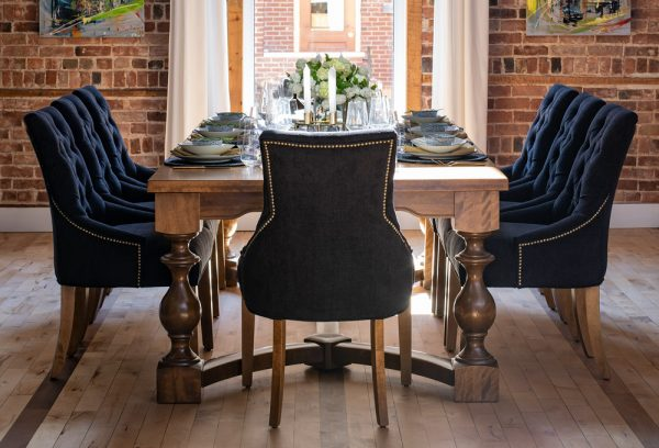 Dalton wood dining table and upholstered chairs