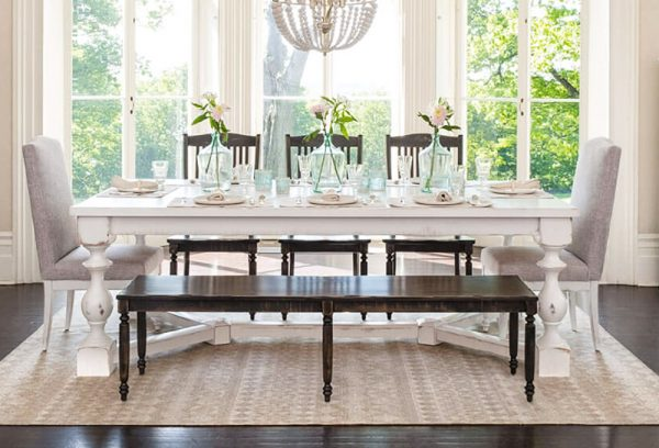 trestle table dining bench