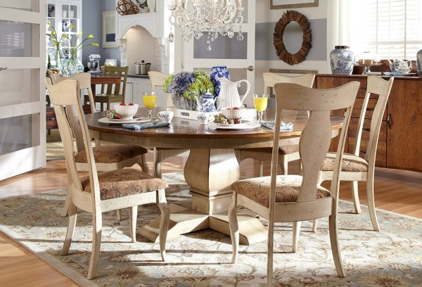 Winston round pedestal dining set and winston sideboard in cherry