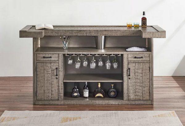 modern industrial home cocktail bar